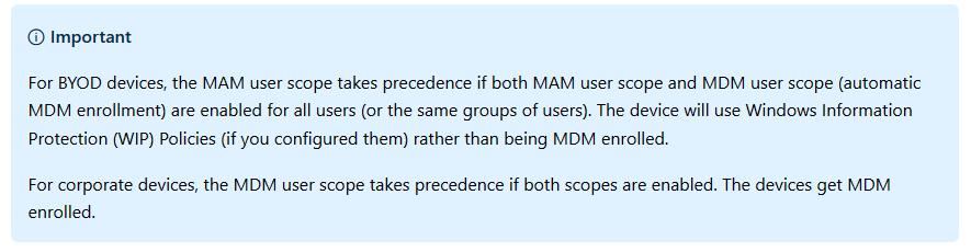 Microsoft MAM User scope